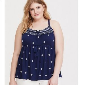 NWT Torrid Plus Size Embroidered Babydoll Tank